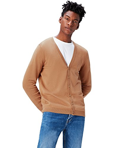 find. Men's Cotton Button Down Cardigan Sweater, Beige (Camel), Small ()