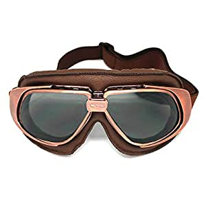 Motorcycle Goggles Scooter Mopeds Half Helmet Vintage Vespa Pilot Aviator Style,Bronze Frame Smoked Lens