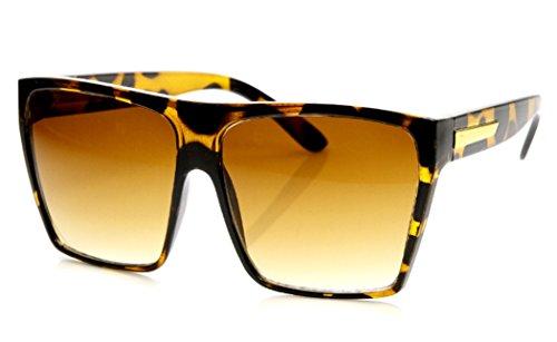 WebDeals -Large Oversized Square Flat Top Fashion Retro Sunglasses (Brown Tortoise, Brown Gradient)