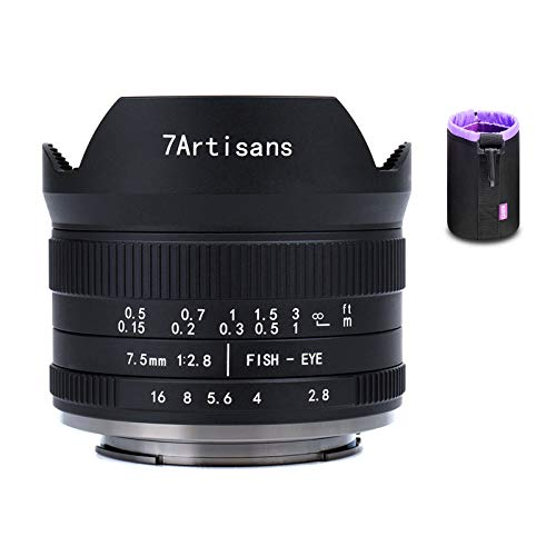 7artisans 7.5mm F2.8 APS-C Fisheye Fixed Lens for Sony Emount Cameras – Black with Protective Lens Cap, Removable Lens Hood and Carrying Bag