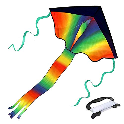 ETLEE Large Rainbow Delta Kite - Summer Beach Toys For Outdoor Games and Activities - Easy to Assemble & Fly Gift For Kids And Adults