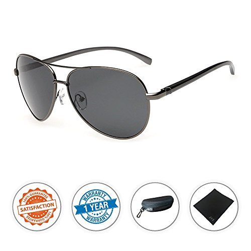 J+S Premium Ultra Sleek, Military Style, Sports Aviator Sunglasses, Polarized, 100% UV protection - Ash Grey Frame