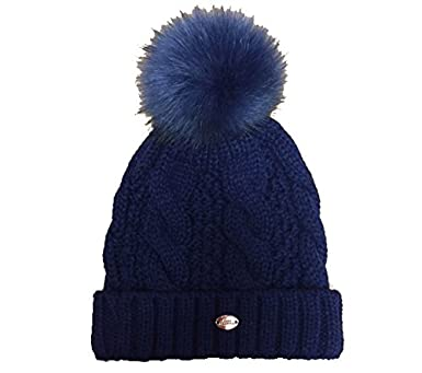9c4fb9e22d0 Image Unavailable. Image not available for. Colour  Aran Traditions Navy Blue  Cable Knit Faux Fur Pom Pom Hat