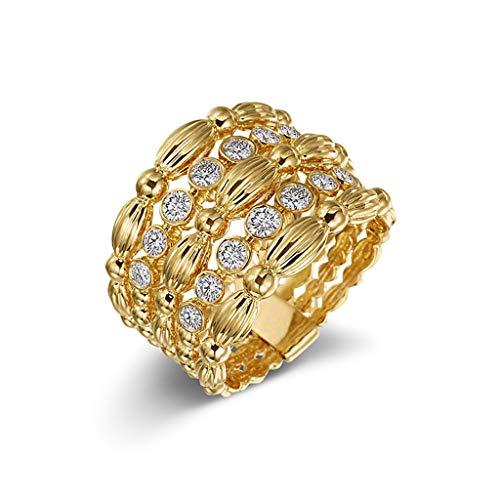 Kintaz Women's Engagement Wedding Ring Luxury Noble Gold Hollow Wide Diamonds Jewelry (7, Gold)