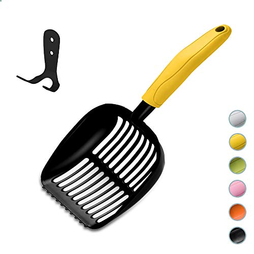WePet Cat Litter Scoop Full Metal Stainless Steel - Litter Scooper, Long Handle Cat Scooper with Holder, Poop Sifting, Pooper Lifter, Kitty Pet Sifter Durable, Heavy Duty Neater Litterbox Scoop Yellow
