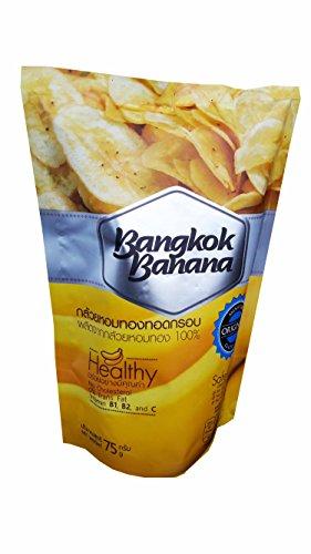 [3 packs of Bangkok Banana, Crispy Homthong Banana Chips, Healthy and Delicious fruit Snack. No Cholesterol, 0% Trans Fat, No Preservatives, No Artificial Flavors, Gluten Free. (75 g/] (Costumes B1 B2)
