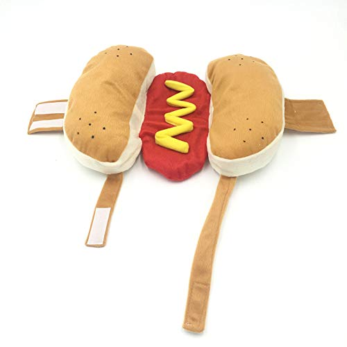 LoLa Ling Hot Dog Pet Dog Halloween Costume Clothes Mustard Cat Clothes Outfit for Small Medium Dog (Please See The Size Chart)