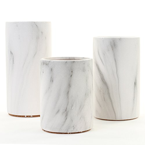 Koyal Wholesale Marble Decor, Black White Marble Effect Cylinder Vase Centerpiece for Marble Wedding, Mable Home Decor, Marble Desk Accessories (Set of 3) - Marble Candle Holder