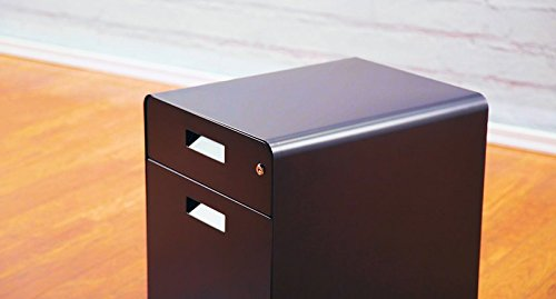 2-Drawer File Cabinet with Seat, Rolling by UPLIFT Desk (Black)