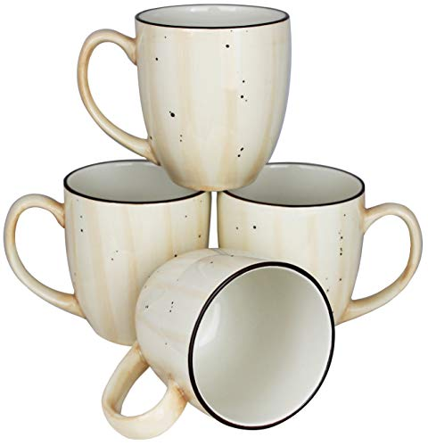 MinWill Brands Hand Painted Rotana Ceramic Bistro Coffee Mugs, Artisan Crafted, Restaurant Quality with Pan Scraper, 14 Ounce, Cream & Bone White, Set of 4