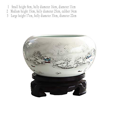 Ly-Figures Jingdezhen Ceramic Fish Tank Small Goldfish Turtle Tank Water Lily Bowl Lotus Pot Pen wash Fish Bowl Home (Color : White, Size : 3) by Ly-Figures