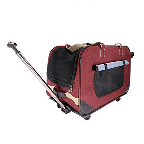 Pet Stroller Foldable, Pet Trolley Case Lightweight Breathable Nylon Grid, 2 Detachable Swivel Wheels Pushchair Pram Jogger for Puppy Cat Pets,C -