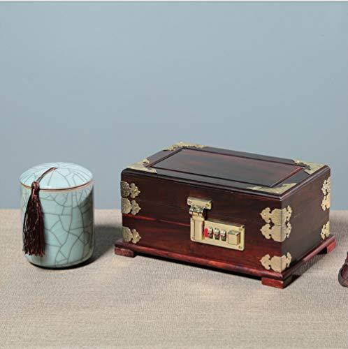 (Boyishengshi Red Rosewood Storage Box Double Handle Treasure Chest Redwood Jewelry Box)