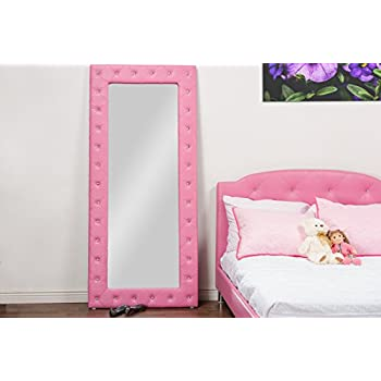 Amazon.com: Baxton Studio Stella Crystal Tufted Pink Leather Modern ...
