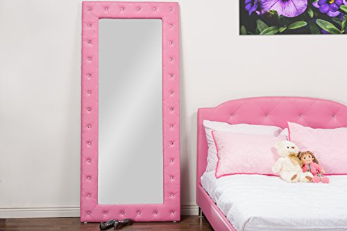 Baxton Studio Stella Crystal Tufted Pink Leather Modern Floor Mirror