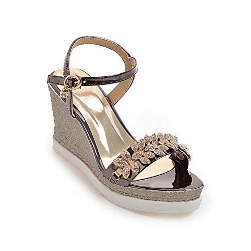 AdeeSu Womens Platforms-Sandals Studded Hiking Urethane Platforms Sandals SLC04044 Black JORZ0Vg
