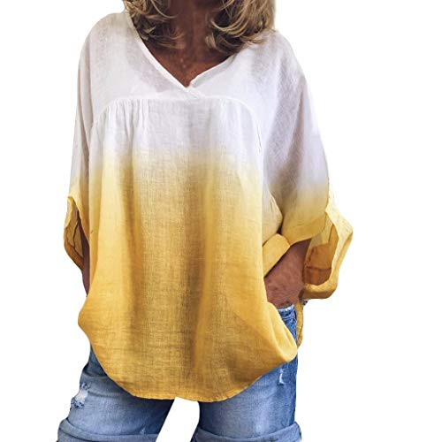 (Witspace Women V-Neck Bat Sleeve Tie Dyeing Plus Size Tee Tank Short Sleeve T Shirt Yellow)