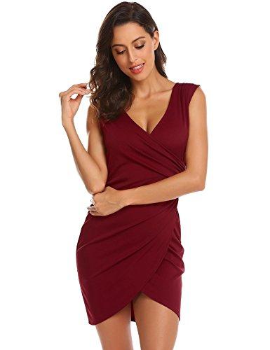 Asymmetrical Dress Deep Mini Red Wine Wrap Instom Front Slit V Zipper Ruched Neck Women's PIwAqH
