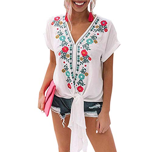 Witspace Women V Neck Floral Print Bell Sleeve Shirt Casual Loose Tops Blouse ()