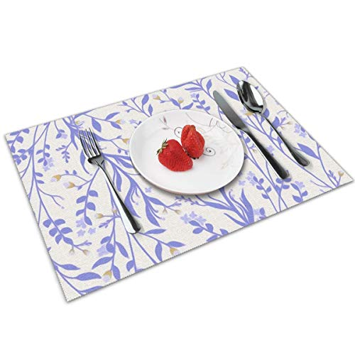 - Tangled Tangled Vines Floral Periwinkle Table Mats Placemats Countertop Protection for Kitchen Dining Table Heat Resistant Baking Mat