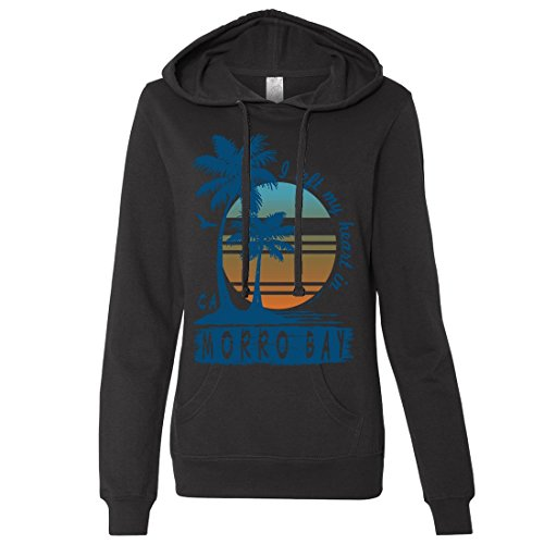 Morro Bay Palm Trees Ladies Lightweight Fitted Hoodie - Black Large