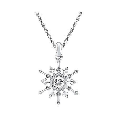 Jewel Tie Solid 10k White Gold Round Diamond Snowflake Winter Cluster Pendant (1/6 Cttw.)