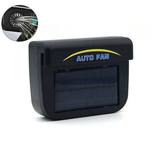 Umiwe Solar Powered Car Auto Cooler Ventilation Fan - Automobile Air Vent Exhaust Heat Fan with Rubber Strip for Automotive Air Circulation