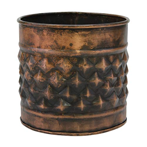 Stonebriar Decorative Diamond Textured Copper Metal Container, Multi-Use Container for Storage, Organization, or Flower Planter, Large