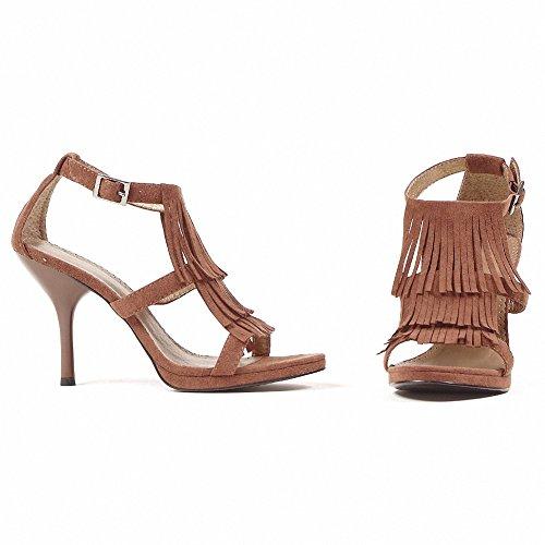 Ellie 417-sioux Donna Sexy Comoda 4. Sandalo Con Frangia Marrone