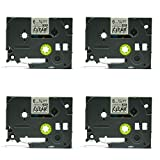 Artitech 4 PK Compatible for Brother P-Touch Laminated Tze Tz Label Tape Cartridge 6mm x 8m (TZe-111 Black on Clear)