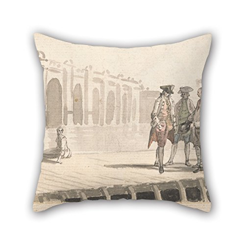 Pillow Cases 18 X 18 Inches / 45 By 45 Cm(two Sides) Nice Choice For Outdoor Sofa Car Living Room Kids Room Kitchen Oil Painting Paul Sandby - A Group Of Men On Westminster Pier (All About You Westminster)