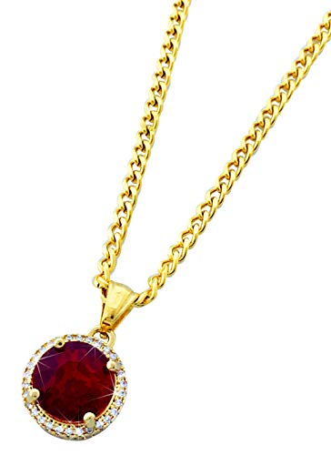 Gold Stainless Steel Round Ruby Pendant Necklace with 24