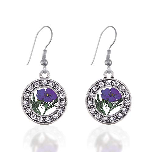 Inspired Silver - Violet Flower Charm Earrings for Women - Silver Circle Charm French Hook Drop Earrings with Cubic Zirconia -