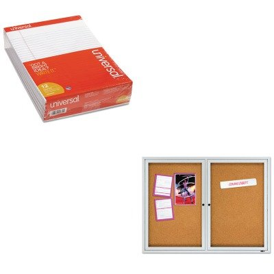 KITQRT2124UNV20630 - Value Kit - Quartet Enclosed Cork Bulletin Board (QRT2124) and Universal Perforated Edge Writing Pad (UNV20630) by Quartet