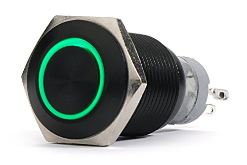 12V Aluminum Metal Push Button Switch Latching green Led 18mm (Lighted Push Button Switches)