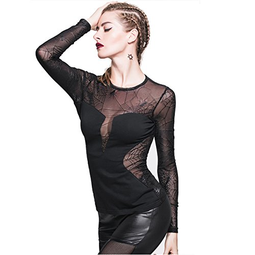 Gothic Women Spider Web Long Sleeve Sexy Lace T Shirt (L) Spider Web Lace Long Sleeve