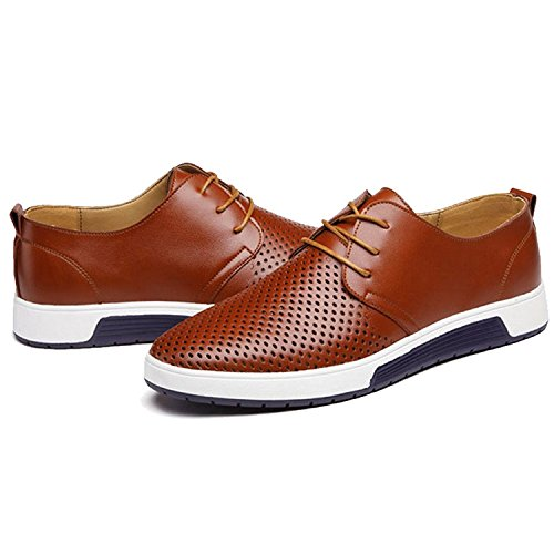 ZZHAP Men's Casual Oxford Shoes Breathable Flat Fashion Sneakers Brown US 12