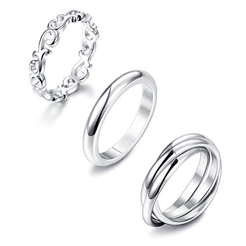 - LOLIAS 3Pcs Stainless Steel Rings for Women Plain Dome Celtic Knot Triple Interlocked Rolling Eternity Wedding Band Stackable Ring,8