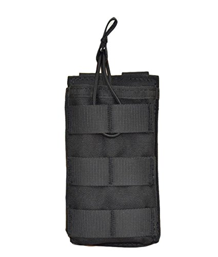 Jadedragon Tactical Airsoft MOLLE Triple Double Single Mag Pouch Holder For M4 M16 AR-15 Magazine (Open Top Version - Single BK)