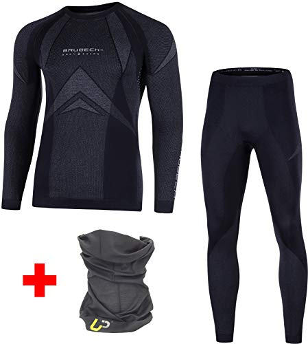 BRUBECK Funktionsunterwäsche Set: Hose + Langarmshirt für Damen Herren | Funktionswäsche atmungsaktiv | Base Layer nahtlos | Sporthose lang | Funktionsshirt Laufen I Dry I LS10180 + LE10160