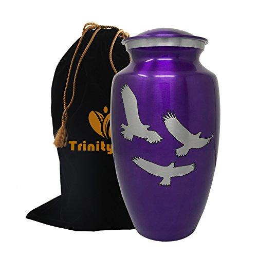 Loving Wings of Hope Cremation Urn - Wings of Freedom Urn - 100% Handcrafted Adult Funeral Urn - Large Wings of Love Solid Metal Urn - Affordable Urn for Human Ashes with Free Velvet Bag (Purple) by Trinityurns