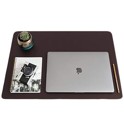 """ZBRANDS // Brown Leather Smooth Desk Mat Pad Blotter Protector, Extended Non-Slip Rectangular, Laptop Keyboard Mouse Pad (24"""" x 17"""")"""