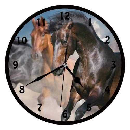 47BuyZHJX Horse Portrait in Herd-Decorative 12 inchs Round Wall Clock,Silent Non Ticking Quartz Battery Operated Black Wall Clock for Home/Office/School.