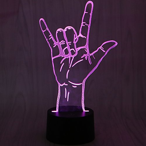 Price comparison product image SYlive 3d Optical Illusion Lamp - USB Novelty 7 Colors I Love You Sign Language LED Night Light 3D Desk Table Lamp