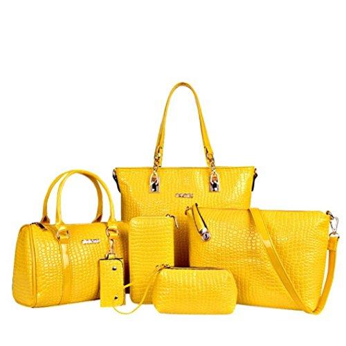 Yellow Hobo Handbag (Egmy® 2016 6PC Quality Product Women Handbag Shoulder Bags Tote Purse Leather Ladies Messenger Hobo Bag (Yellow))