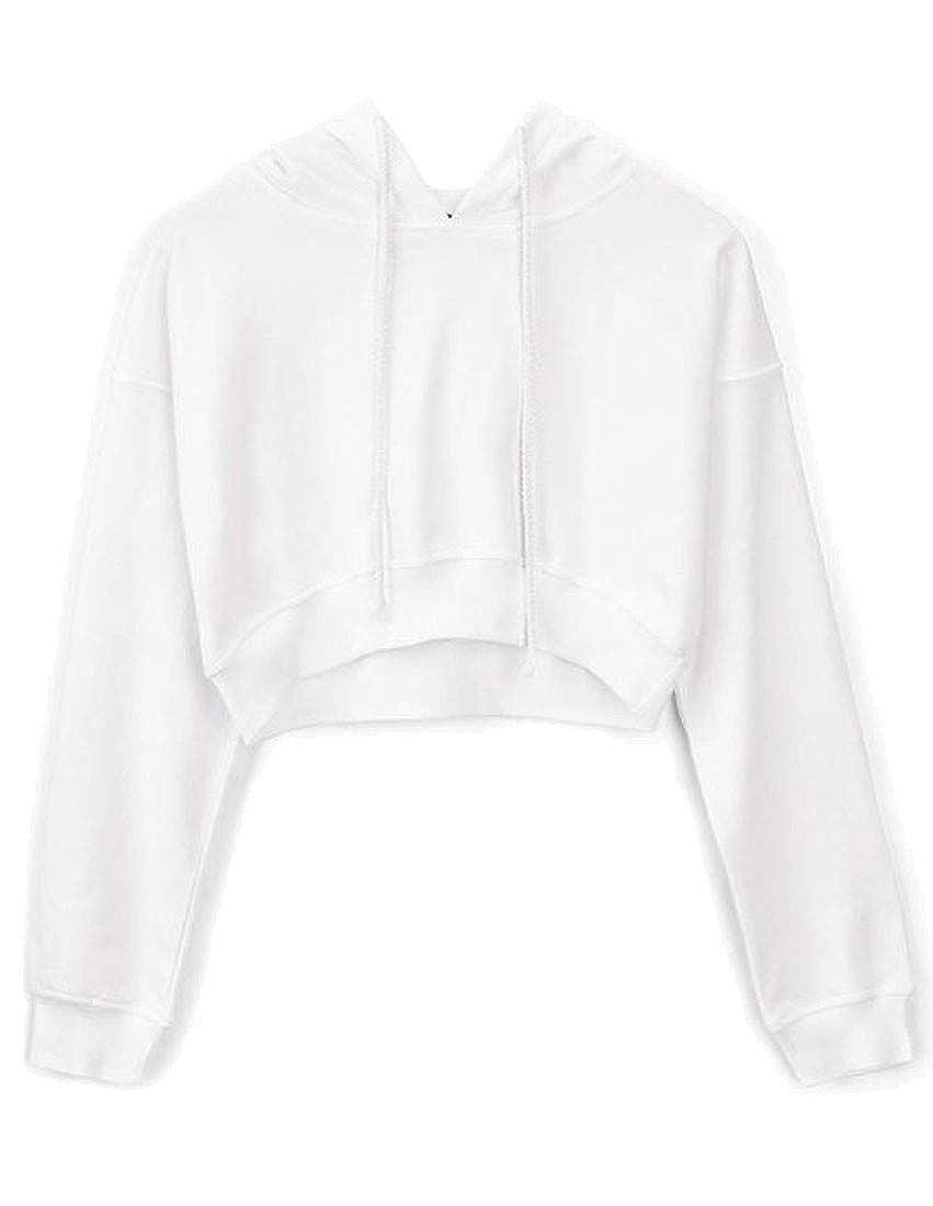 XiaoTianXin-women clothes XTX Womens Long Sleeve Casual Drawstring Hooded Pullover Crop Sweatshirt