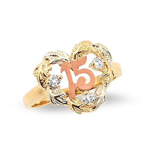 LoveBling 14k Tri-Color Gold 15 Anos Leaf Heart with 3 CZ Stones Quinceanera Rings (8.5) ()