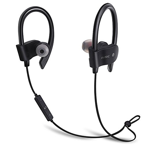 Bluetooth Headphones, Best Wireless Sports Earphones w/Mic IPX7 Waterproof HD Stereo Sweatproof Earbuds for Gym Running Workout 8 Hour Battery Noise Cancelling Headsets-(Black)