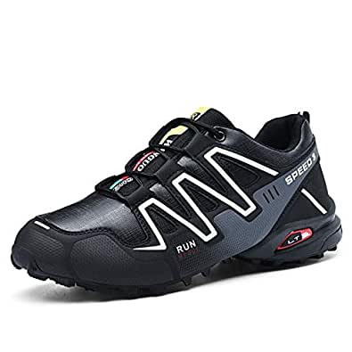 SR trade-YUNTU Men's Sports Shoes Casual Sports Shoes Men's Hiking Running Cycling Shoes Outdoor Sports Shoes Men's Breathable Comfortable Non-Slip (Color : Black, Shoe Size : 6)