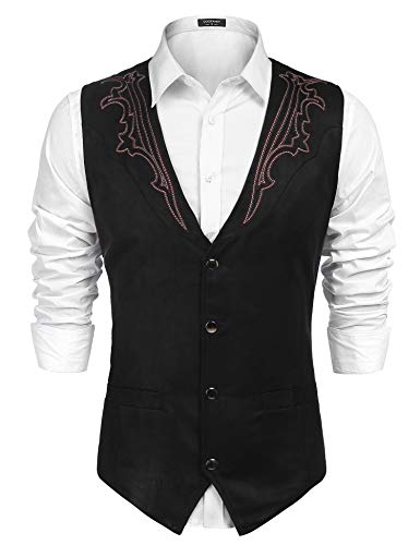 JINIDU Men's Casual Suede Leather Vest Jacket Slim Fit Dress Vest Waistcoat ()